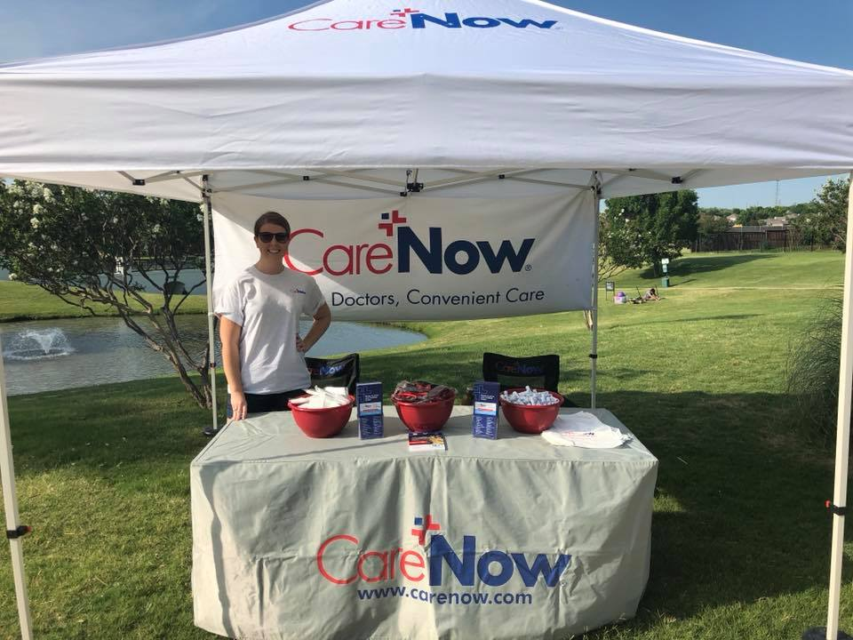 carenow pop up tent at fishing with dad event